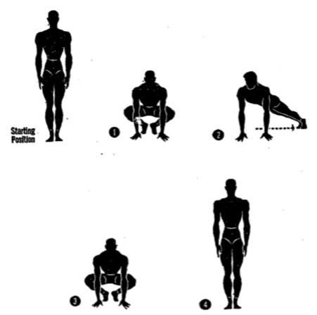 Army physical training diagonal squat thrust.