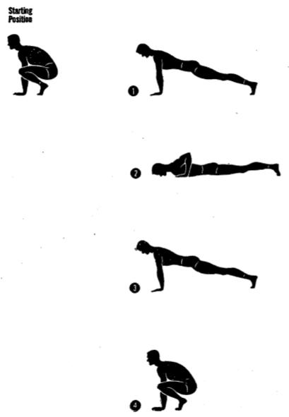 Army physical training leg thrust and dip.