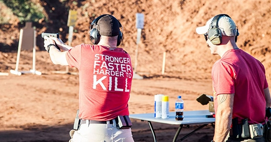 pistol training at shooting range atomic athlete vanguard