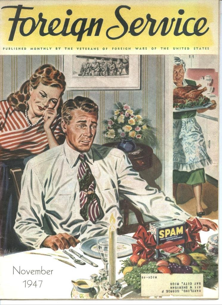 vintage foreign service magazine cover spam