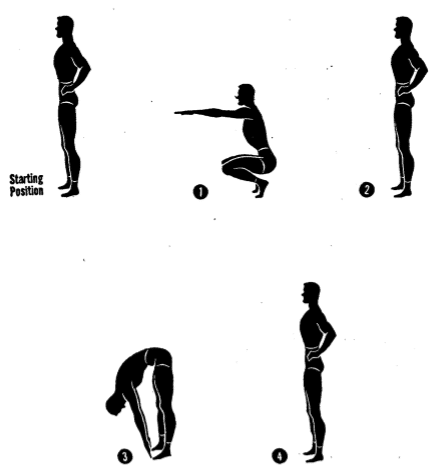 Army physical training Squat bender.