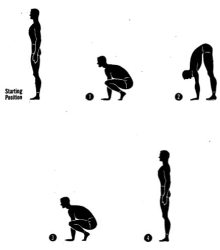 Army physical training squat stretch.
