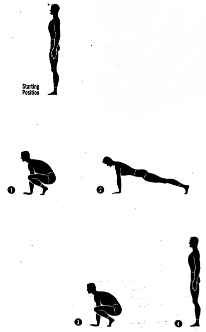 Army physical training squat thrust 3.