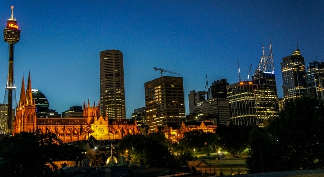 sydney australia skyline at night