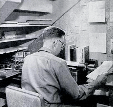vintage man working at home office desk