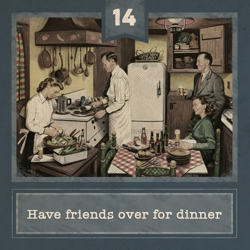 Vintage party having friends over for dinner illustration.