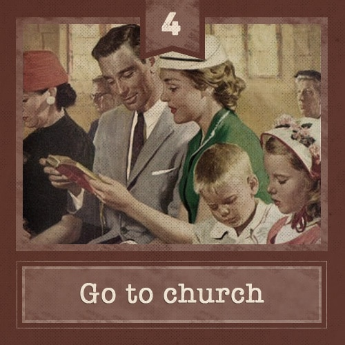 Vintage family sitting in church pew singing hymn illustration.