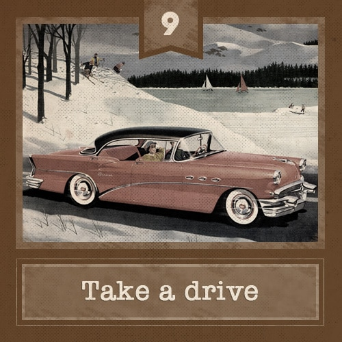 Vintage couple taking a drive in winter, road trip illustration.