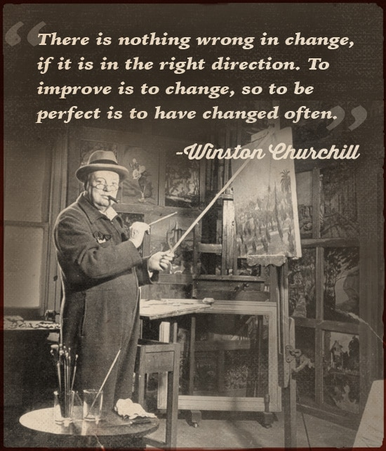 winston churchill quote to improve is to change