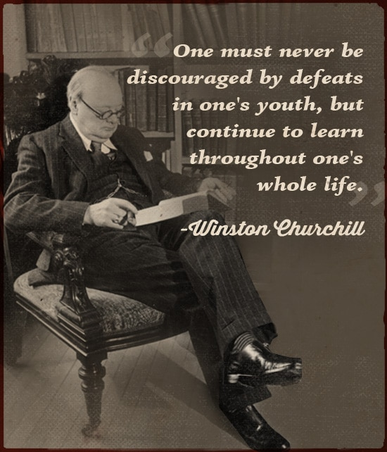 winston churchill quote never be discouraged by defeats