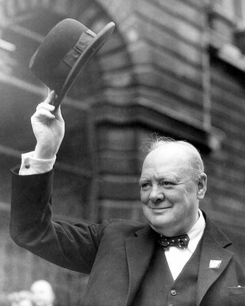 winston churchill tipping cap to crowd