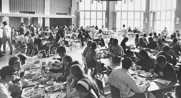 vintage college cafeteria students eating meal