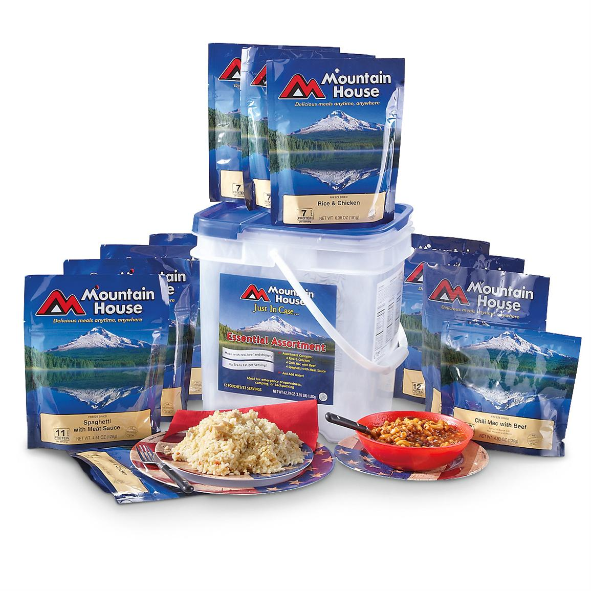 mountain house dehydrated food pouches bucket