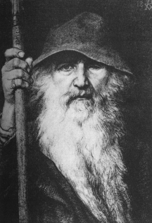 odin norse god one eye with staff and bucket hat