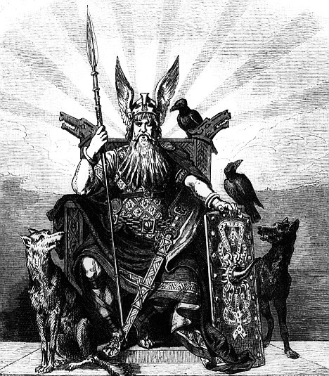 Odin norse god on throne with animals around.