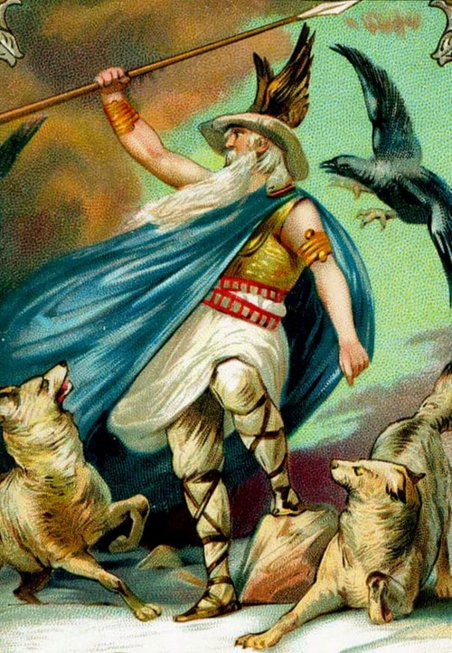 odin norse god king with spear and animals