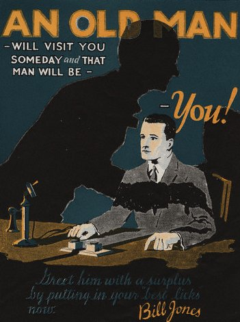 vintage personal finance ad poster an old man will visit you