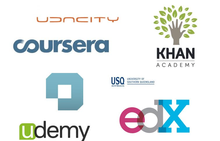 online learning classes companies logos edx udemy coursera khan