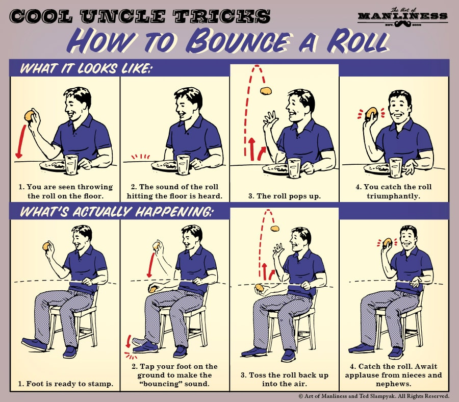 how to bounce a dinner roll magic trick