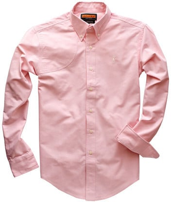 pink button down dress shirt reinforced shooting shoulder