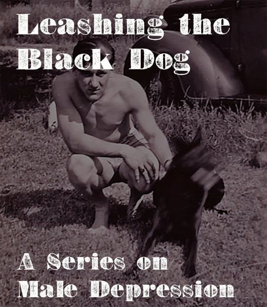 Vintage man leashing black dog male depression.