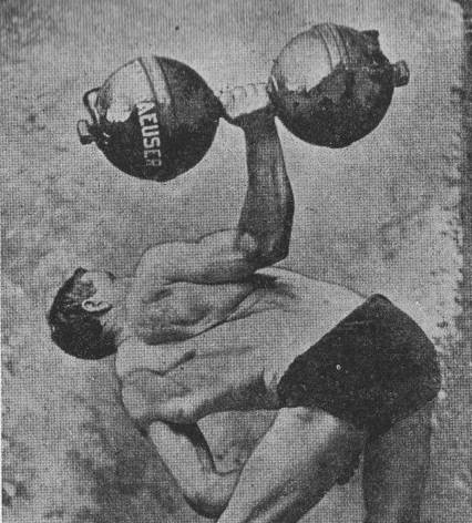 A man lifting large dumbbell with one hand illustration.