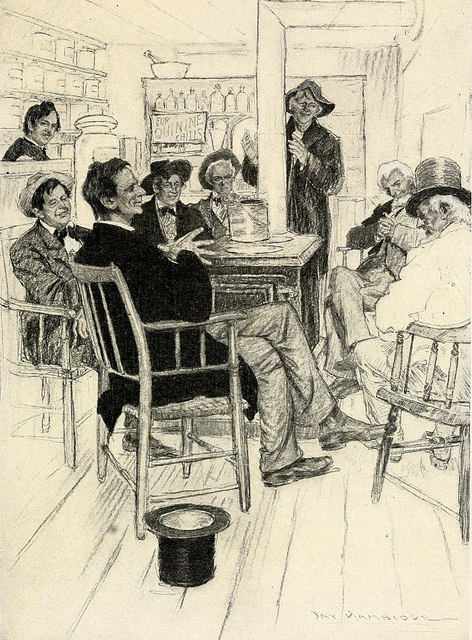 vintage illustration abraham lincoln sitting with friends telling stories jokes