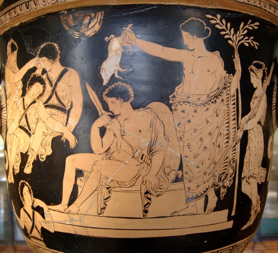 depression orestes ancient greek pottery artwork