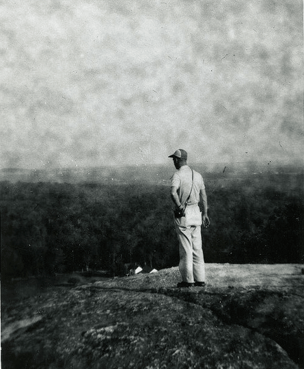 Vintage man on hilltop looking out over valley.
