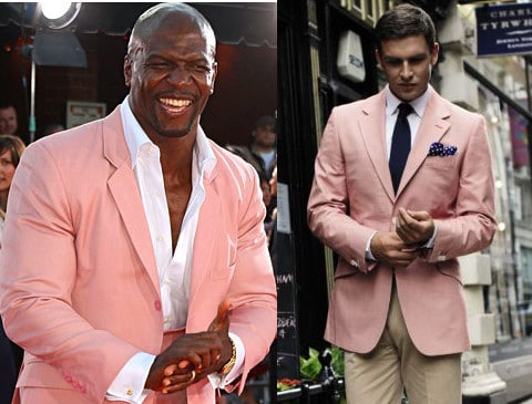 Men wearing pink coat.