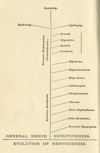 A chart of evolution of nervousness.