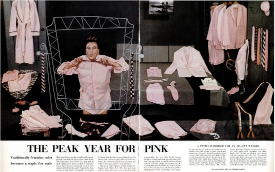 life magazine article peak year for pink men's clothing 1955