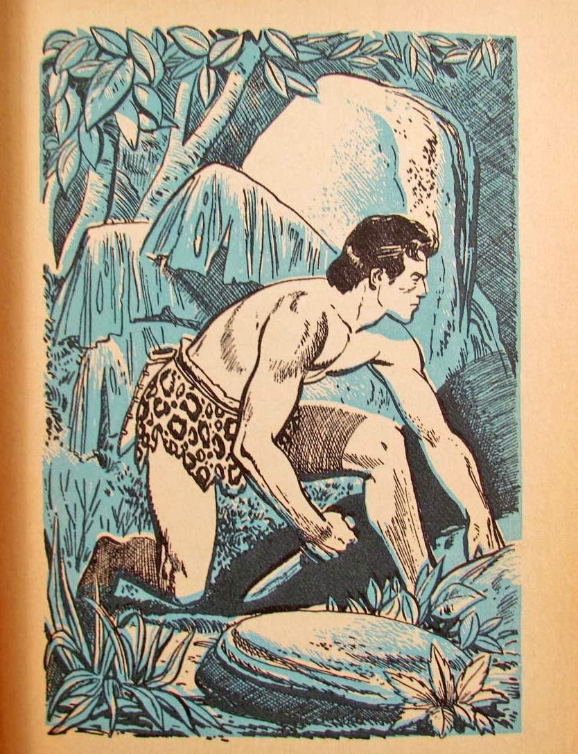 vintage illustration tarzan with knife hunting in jungle