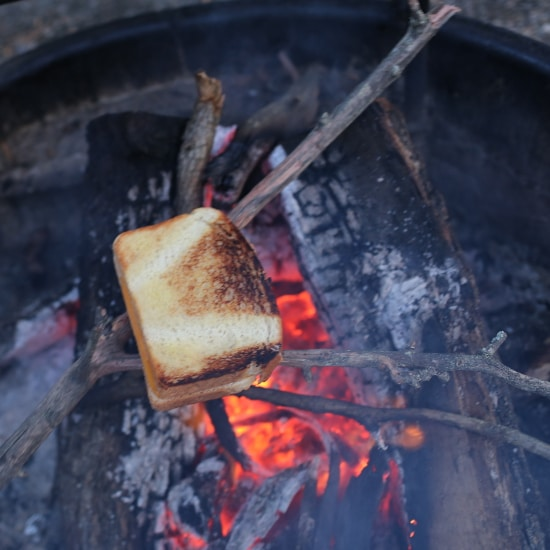 Grilled cheese cooking on stick over fire.
