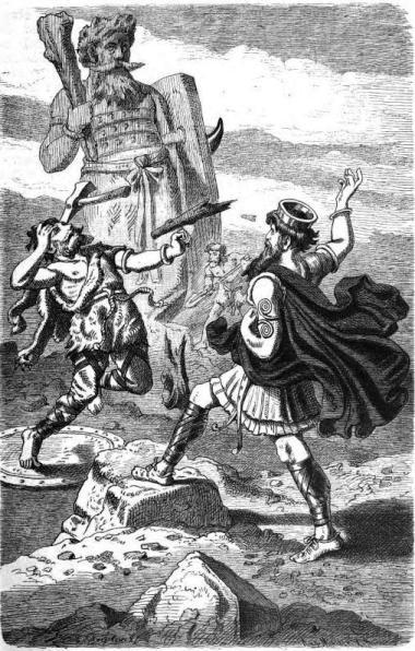 Thor doing battle with Hrungnir illustration.