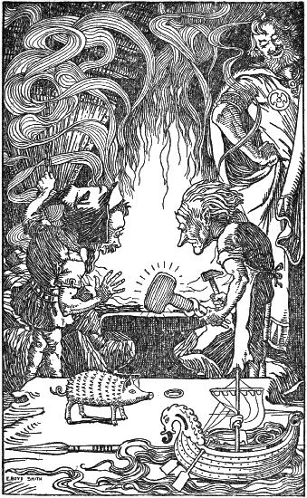 Mjolnir being fashioned by Dwarves illustration.
