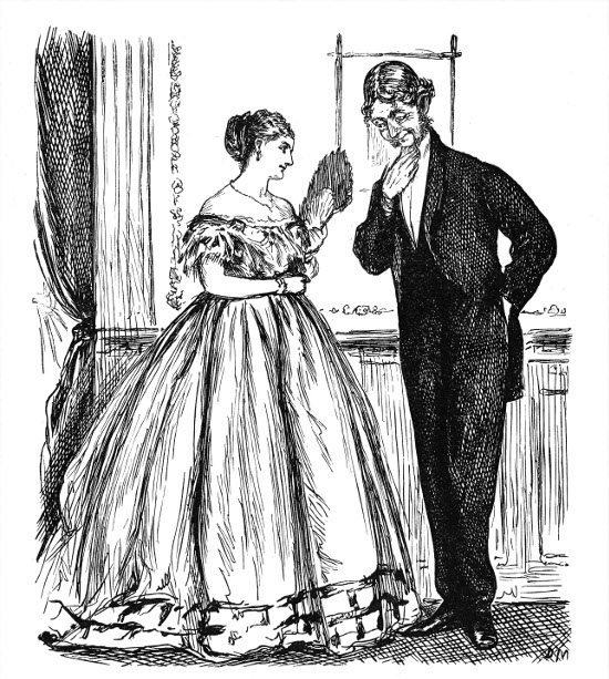 victorian illustration man talking demurely with woman
