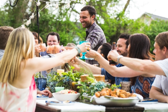 matt moore chef friends having backyard dinner party