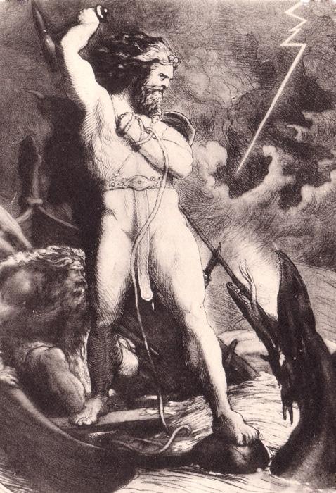 thor battling the world-encircling serpent, jormungand
