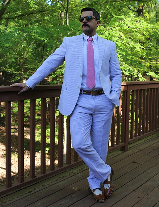 seersucker suit with pink tie