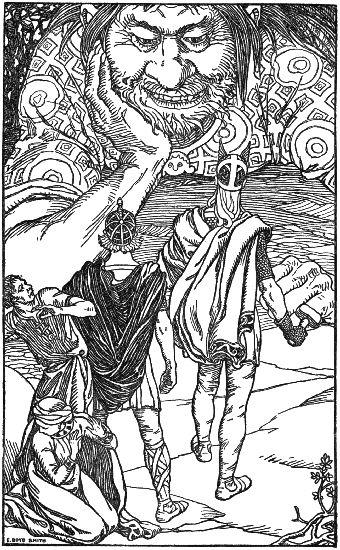 Thor Loki and Skrymir illustration.
