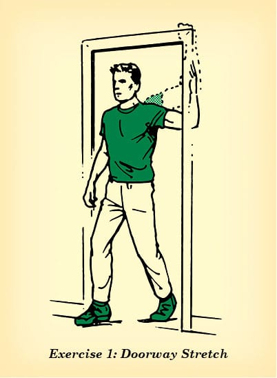 Doorway stretch counteract effects of sitting illustration.