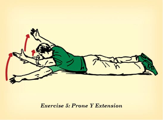 Prone y extension counteract effects of sitting illustration.