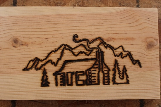 Woodburning cabin outline.