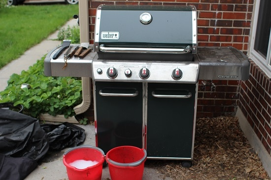 Green Weber Gas Grill On Patio