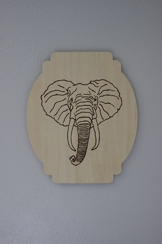 Woodburning elephant.