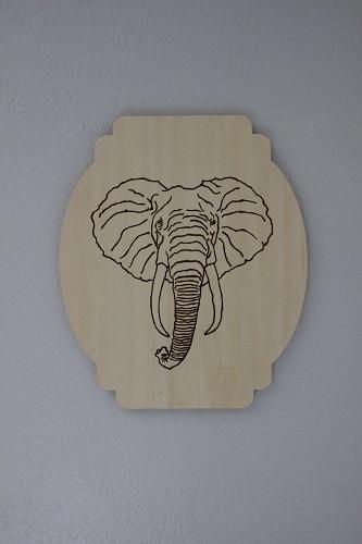 Woodburning elephant.