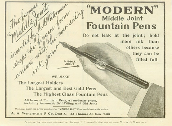 Modern middle joint fountain pens illustration.