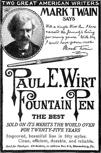 Mark Twain and Paul Wirt solding fountain pen advertisement.