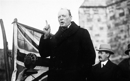 Young winston churchill speaking.